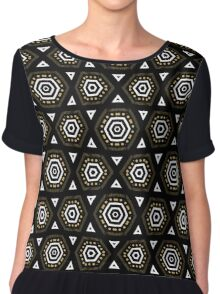 Black Bronze + White Geometric Shapes Chiffon Top