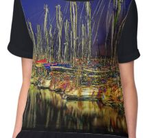 FULL MOON AT THE PIER, by E. Giupponi Chiffon Top