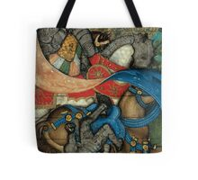 Medieval Knight Falling off Medieval Horse Tote Bag