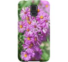 Pink Aster Blossoms, greenery Samsung Galaxy Case/Skin