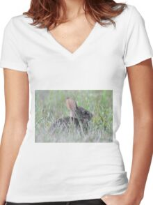 Eastern cottontail baby bunny Women's Fitted V-Neck T-Shirt