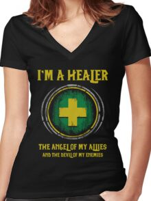 Warcraft - I'm A Healer The Angel Of My Allies And The Devil Of My Enmenies Women's Fitted V-Neck T-Shirt