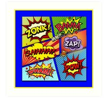Colorful Comic Book Panels Art Print