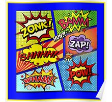 Colorful Comic Book Panels Poster