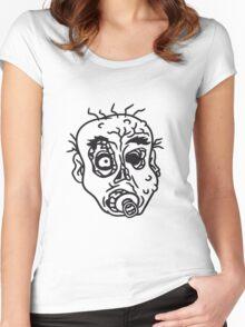 nuckeln kopf gesicht baby schnuller kleinkind kind böse ekelig monster horror halloween zombie design  Women's Fitted Scoop T-Shirt