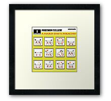 Pokemon Yellow: A Hard Day's Pikachu B&W Framed Print