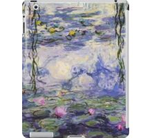 Claude Monet, Waterlily oil on canvas.  Beautiful vintage purple waterlily and big green leaves flowering pond iPad Case/Skin
