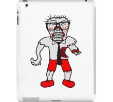 nerd geek hornbrille pickel spange freak schlau glücklicher untoter monster halloween horror comic cartoon design zombie  iPad Case/Skin