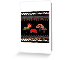 African Rhino (hot colors) Greeting Card