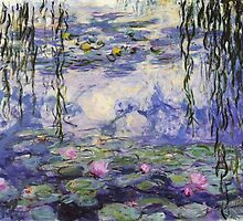 Claude Monet, Waterlily oil on canvas.  Beautiful vintage purple waterlily and big green leaves flowering pond by naturematters