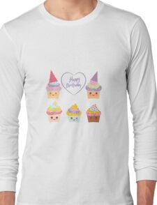 Birthday Card design with Cupcake  Long Sleeve T-Shirt