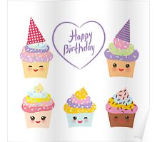 Birthday Card design with Cupcake  Poster