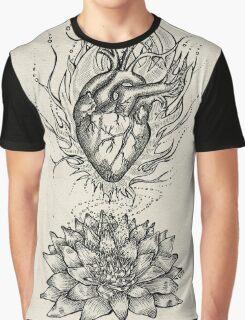 Flaming Lotus Heart - Evolve Love Graphic T-Shirt