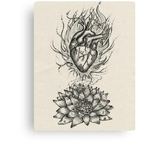 Flaming Lotus Heart - Evolve Love Canvas Print