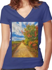 Step back into fall Women's Fitted V-Neck T-Shirt