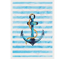 Sailor Anchor Blue Nautical Watercolor Photographic Print
