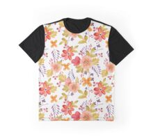Watercolor Flowers Red Peach Yellow Graphic T-Shirt