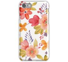Watercolor Flowers Red Peach Yellow iPhone Case/Skin