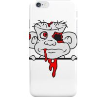 mauer wand schild schreiben text zombie ekelig horror halloween comic cartoon lustig blut untoter  iPhone Case/Skin