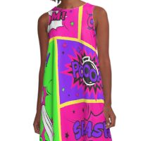 Bright and Colorful Comic Book Art A-Line Dress