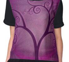 Purple Swirly Tree Chiffon Top