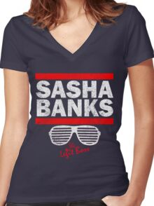 Sasha Banks Run DMC Mashup Vintage Women's Fitted V-Neck T-Shirt