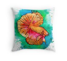 Betta Fish Splat Throw Pillow
