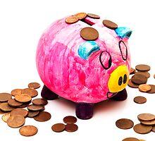 piggy bank with money by arnau2098