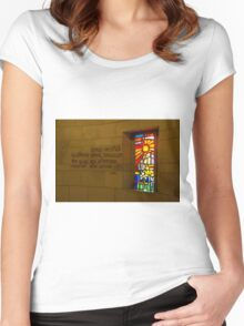 Nazareth, Basilica of the Annunciation, Stained glass window  Women's Fitted Scoop T-Shirt