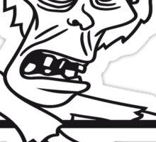 mauer wand klettern schild rahmen text schreiben zombie laufen gehen hässlich comic cartoon lustig horror halloween  Sticker
