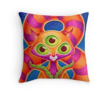 Precious Three-eyed Tentacle Cat Baby Throw Pillow