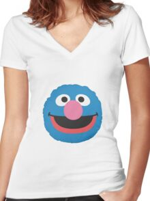 grover face Women's Fitted V-Neck T-Shirt