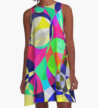 Psychedelic Circle Abstract Pattern  A-Line Dress