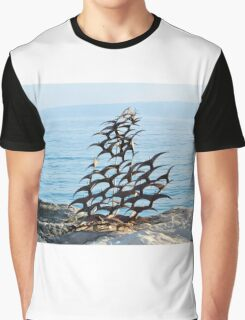 sculpture of seagulls on a shore Graphic T-Shirt