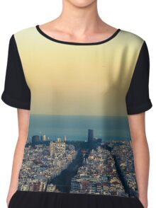 Panorama on Barcelona city from Montjuic castle.Catalonia Chiffon Top