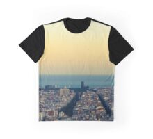 Panorama on Barcelona city from Montjuic castle.Catalonia Graphic T-Shirt