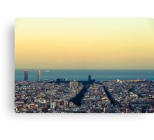 Panorama on Barcelona city from Montjuic castle.Catalonia Canvas Print