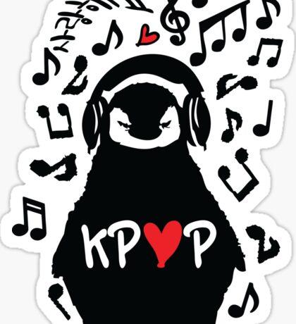 Penguin listen to kpop Sticker