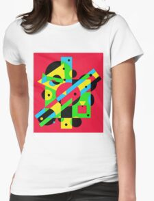 Fun geometrical colorful design  Womens Fitted T-Shirt