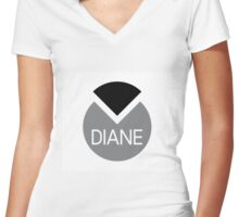 american first name female: Diane Women's Fitted V-Neck T-Shirt