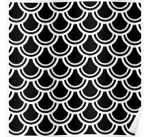 Black and White Deco Fans Pattern Poster