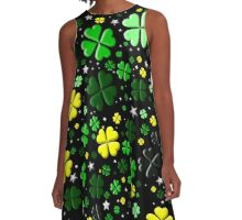 Clovers and Stars Greens A-Line Dress
