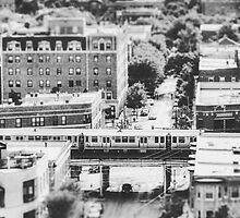 Uptown Chicago L in Black and White by Kadwell