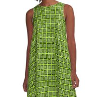 Square Retro Pattern Design Lime and Black  A-Line Dress