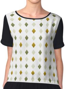 Green And Gold Diamond Pattern Chiffon Top