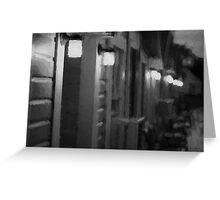 Rainy Night Motel II BW Greeting Card