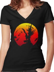 shinigami silhouette Women's Fitted V-Neck T-Shirt