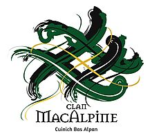 Clan MacAlpine - Prefer your gift on Black/White tell us at info@tangledtartan.com  Photographic Print