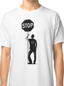 Retro Man With Stop Sign Classic T-Shirt