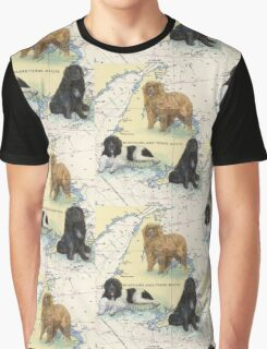 Newfoundland Dog Trio Cathy Peek Animal Art Graphic T-Shirt